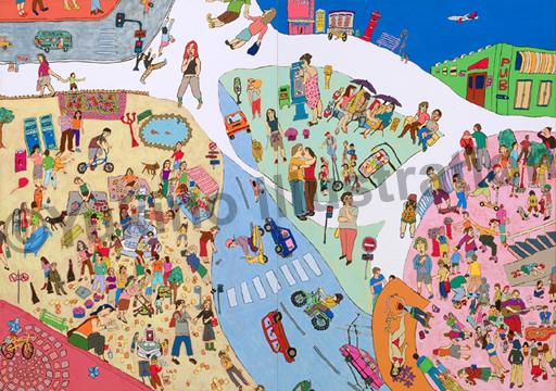 外国の街道路車人店公園暮らし日常風景イラスト