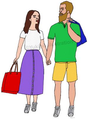買い物ショッピングカップルイラスト