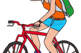 自転車サイクリング女イラスト