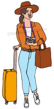 旅スーツケースカメラ女イラスト