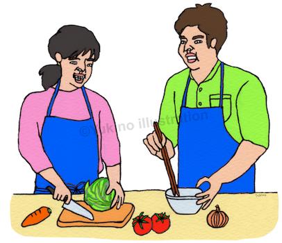 料理クッキング夫婦イラスト