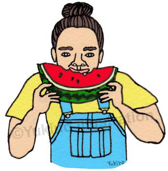 スイカ西瓜食べる夏人イラスト