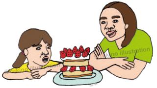 苺ショートケーキ親子イラスト