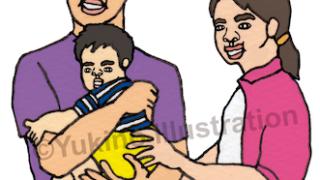 赤ちゃん夫婦抱っこイラスト