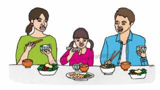 食事家族イラスト
