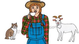 麦わら帽子三つ編みオーバーオールチェックシャツそばかす女山羊猫イラスト
