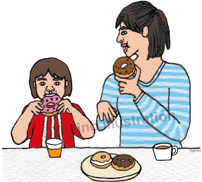ドーナツ親子食べるイラスト
