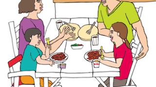 家族みんな食事ランチリビングイラスト